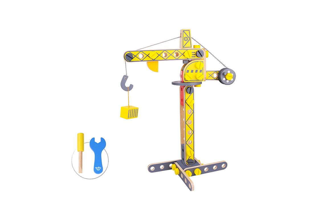 Kids Diy Build It Wooden Toy Construction Crane Set