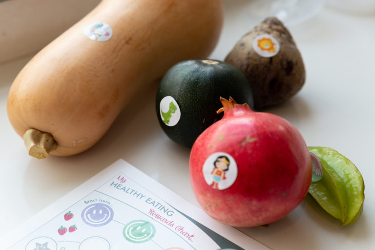 Vegetables with stickers on them to encourage picky eaters to try new foods