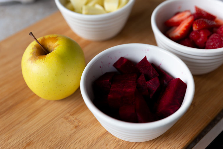 Prepared fruits and vegetables, ready to cook into a healthy toddler or baby meal
