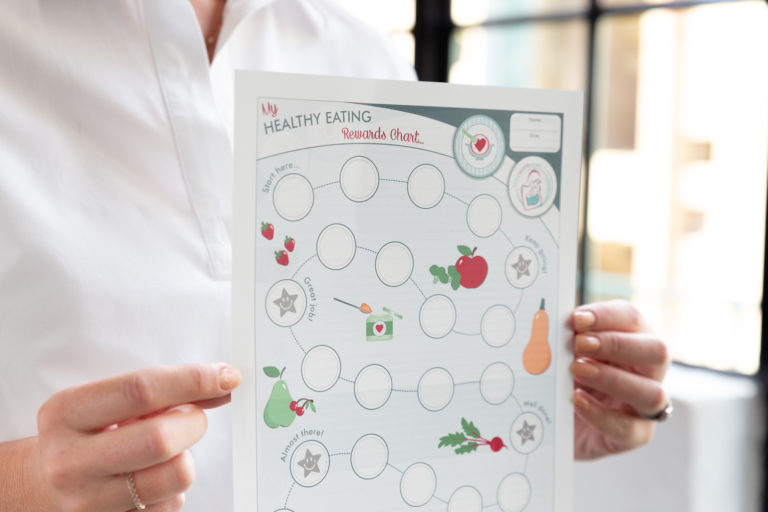 A close up of the BabyWombWorld Rewards Chart to encourage healthy eating habits with picky toddlers